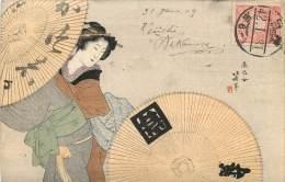 Japon - Carte Illustrée - Dessinée - Geisha Et Parasols - Japan