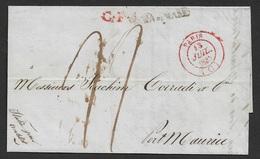 1837 LAC France, Paris A Porto Mauricio, Italie - Via Di Mare - Par Antibes - Maritime Post - Marcophilie (Lettres)