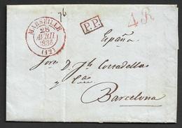 1836 LAC France, Marseille A Barcelone, Espagne - Marcophilie (Lettres)