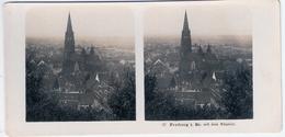 Stereo Foto FREIBURG Im Breisgau Mit Dem Münster Neue Photographische Gesellschaft AG Berlin Steglitz Um 1904 18x8,6 Cm - Freiburg I. Br.
