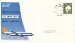 South Africa RSA First Flight Cover SAL SAA Cape Town - Johannesburg 1-1-1977 - South Africa (1961-...)
