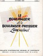 87-LIMOGES-BULLETIN  INFORMATION LE BOULANGER ET PATISSIER LIMOUSINS-BOULANGERIE PATISSERIE- N° 9- 1965-MINOTERIE MAZIN- - Cooking & Wines