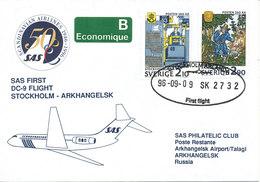 Sweden Cover First SAS DC-9 Flight Stockholm - Arkahangelsk 9-9-1996 - Sweden