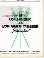 87-LIMOGES-BULLETIN  INFORMATION LE BOULANGER ET PATISSIER LIMOUSINS-BOULANGERIE PATISSERIE- N° 8-1966-MINOTERIE MAZIN- - Cooking & Wines