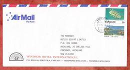 Luftpost, Windsor Hotel, MiF Fisch U.a., Port Vila Nach Auckland 1996 (54199) - Vanuatu (1980-...)
