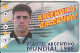ARGENTINA(chip) - Mundial 1998/Hernan Jorge Crespo, Telefonica Telecard(F 113), Tirage 50000, 05/98, Used - Argentina