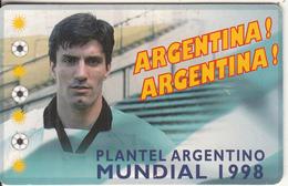 ARGENTINA(chip) - Mundial 1998/Jose Antonio Chamot, Telefonica Telecard(F 112), Tirage 50000, 05/98, Used - Argentina