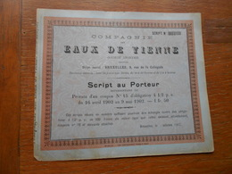 """Script""""Cie Des Eaux De Vienne""""1903 Bruxelles Wien Wasser.N° 121 - Eau"""