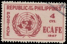 Philippines Scott # 516, 4¢ Dark Carmine & Pink (1947) UN Emblem, Used - Philippines