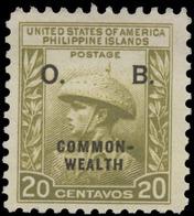 "Philippines Scott #O-34, 20¢ Light Olive Green (1940) ""Juan De La Cruz"", Mint Hinged - Philippines"