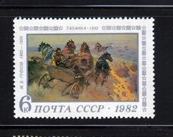 Painting Art Horses Tachanka War - M.GREKOV - MNH 1982 Sc 5057 Mi 5188 Russia - Museums
