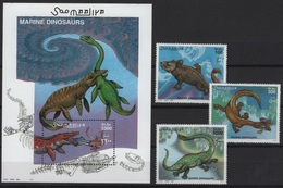 SALE!!! Somalia (2000) Yv. 742/44 + Bf. 70 /  Dinosaurios - Dinosaures - Dinosaurus - Dinosaurs - Prehistory - Prehistorisch