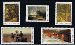 Painting Tretyakov Gallery SHISHKIN SAVRASOV LEBEDEV ARCHIPOV MNH 1986 Complete Set Of 5 Sc 5466-5470 Mi 5615-19 Russia - Museen