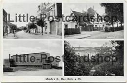 Foto AK Mödrath 4 Ansichten Hauptstraße Bahnhof Schule Burg Bezirk Köln 1939 - Koeln