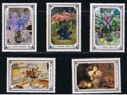 Painting Flower Bouquet KRAMSKOY GERASIMOV KONCHALOVSKI KOROVIN MNH 1979 Set Of 5 Sc 4765-69 Mi 4866-70 Russia - Museums