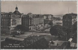 Geneve - La Tour Et Les Ponts De L'Ile , Oldtimer, Tram, Animee - Photo: Jaeger - GE Genève