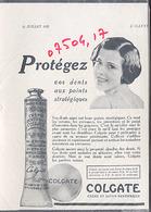 """{07504,17} Publicité """" Colgate """", De L'illustration N° 4610 (1931).  """" En Baisse """" - Reclame"""