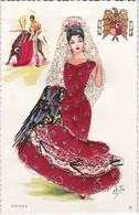 CPSM  Carte Brodée  Signé Eloi  Espana - Embroidered
