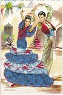 CPSM  Carte Brodée  Baile Flamenco - Brodées