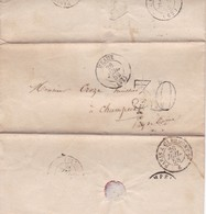 SOBRE ENVELOPPE CIRCULEE YEAR 1858 MEAUX A CHAMPEIX AVEC MARQUES PARIS ET PARIS A CLEMONT 2°-FULL CONTENT INSIDE- BLEUP - 1853-1860 Napoléon III