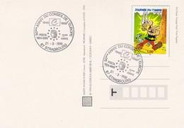 FRANCE - CP JOURNEE DU TIMBRE ASTERIX 1999 - CACHET ROND 50e ANNIVERSIARE CONSEIL DE L'EUROPE 21.3.99 STRASBOURG  / 1 - France
