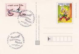FRANCE - CP JOURNEE DU TIMBRE ASTERIX 1999 - CACHET ROND 1er JOUR 20.03.99 STRASBOURG - C'EST UNE FILLE    / 1 - Biglietto Postale