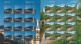 "CROACIA/ CROATIA/ KROATIEN/ HRVATSKA - EUROPA 2018  - ""PUENTES.- BRIDGES - BRÜCKEN - PONTS"" - 2 HOJAS BLOQUE De 12 - 2018"