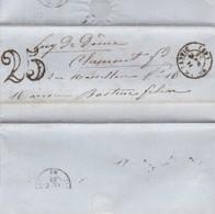SOBRE ENVELOPPE CIRCULEE YEAR 1853 BOURG LASTIC A CLERMONT FERRAND PUY DE DOME TAXED-FULL CONTENT INSIDE- BLEUP - 1853-1860 Napoléon III
