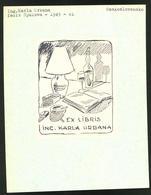 Exlibris Von Spalova Für Ing. Karla Urbana, Offenes Buch Neben Tischlampe, Weinflasche & Aschenbecher - Ex Libris