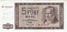 Alemania Democrática - German Democrátic 5 Mark 1964 Replacement YP Pick 22a.r  Ref 898-2 - [ 6] 1949-1990 : RDA - Rep. Dem. Alemana