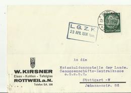DR  Karte  1936 ROTTWEIL - Storia Postale