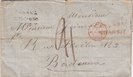 LETTRE. 27 SEPT 1850. NOUVELLE-CALEDONIE PAÏTA POUR BORDEAUX. PANAMA TRANSIT(NOIRE ET ROUGE).ANGL CALAIS. TAXE 21 / 3079 - Neukaledonien