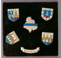 6  Pin's Galicia : Lugo, La Coruna, Pontevedra, Orense. - Città