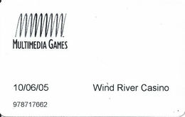 Wind River Casino - Riverton WY - Multimedia Games Slot Card From 2005 - Cartes De Casino