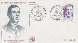Enveloppe   FDC   FRANCE  Général  DE  GAULLE  Le  Marché  Aux  Timbres   PARIS   1990 - De Gaulle (Général)