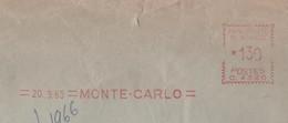 EMA MONTE CARLO 1965 - PRINCIPAUTE DE MONACO, POUR FRISCHES NORD, CACHET D ARRIVEE, VOIR LES SCANNERS - Marcophilie - EMA (Empreintes Machines)