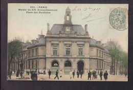 CPA 75 - PARIS - 20 ème - Mairie Du XXè - Place Des Pyrénées - TB PLAN ANIMATION - CP Voyagée 1905 - Arrondissement: 20