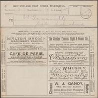 Nouvelle-Zélande 1893. Télégramme Publicitaire. Beurre œufs Lin Café De Paris, Gare, Passagers, Bouteilles Vin Whisky - Alimentation