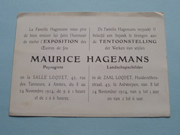 MAURICE HAGEMANS Landschapschilder ( Zaal LOQUET Huidevetterstr. ANTWERPEN ) Anno 1924 ( Zie Foto ) ! - Belgique