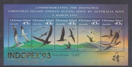 Christmas Island SG 377a MS 1993 Seabirds Mini Sheet Overprint Indopex, Mint Never Hinged - Christmas Island