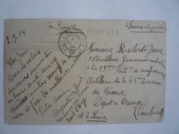AMBULANT DE MOBILISATION ? CONVOYEUR NICE A MARSEILLE 1° 02-09-1914 - CPA VAR LE MUY INTÉRIEUR DE L'ÉGLISE - Marcofilie (Brieven)