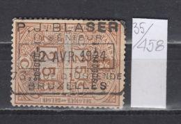 35K458 / 1924 - 25 C. TAXES FISCALES , RAILWAY P.J. BLASER - BRUXELLES , Revenue Fiscaux Steuermarken , Belgique Belgium - Revenue Stamps