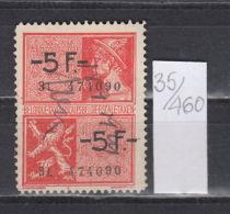 35K460 / 5 F. + 5 F. - LION ANIMAL  , Revenue Fiscaux Steuermarken Fiscal , Belgique Belgium Belgien Belgio - Revenue Stamps