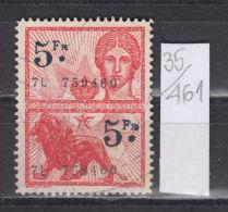 35K461 / 5 F. + 5 F. - LION ANIMAL  , Revenue Fiscaux Steuermarken Fiscal , Belgique Belgium Belgien Belgio - Revenue Stamps