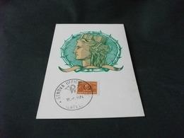 SERIE ORDINARIA TURRITA LIRE 35 RECAPITO AUTORIZZATO DA MONETA SIRACUSANA DEL IV SECOLO A.C.  MAXIMUM CARD N°63 - Monete (rappresentazioni)