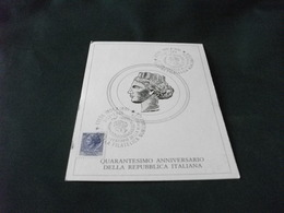 SERIE ORDINARIA TURRITA LIRE 55  DA MONETA SIRACUSANA DEL IV SECOLO A.C. 40° ANN. REPUBBLICA ITALIANA - Monete (rappresentazioni)