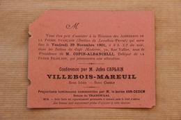 Invitation La Patrie Française (Section Levallois-Perret), Conférence Jules Caplain : Villebois-Mareuil, 1901 - Collections