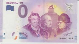Billet Touristique 0 Euro Souvenir Belgique - Memorial 1815 2017-1 N°ZEMQ003909 - EURO