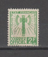 FRANCE / 1942 / Y&T SERVICE N° 9 : Francisque 2F Vert - Neuf Sans Gomme (n'existe Pas En Oblitéré) - Usados
