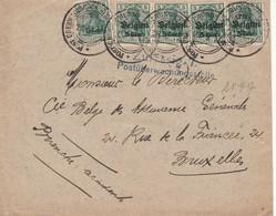 Env Affr 5x OC27 étapes 6e Armée De Tournai 28/9/1917 + Censure Zulässig 7 V. Bxl - WW I